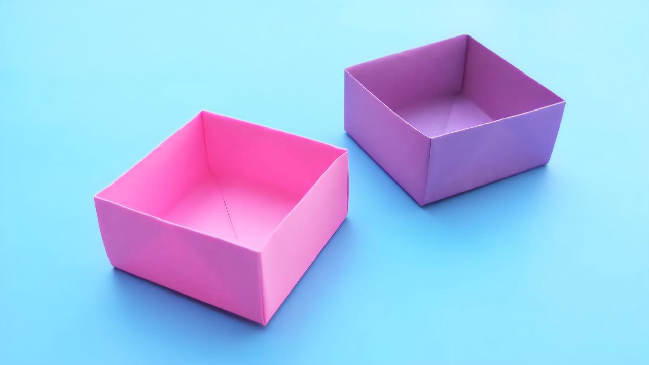 简单实用的折纸收纳盒,一张纸就能做出来,手工折纸视频教程