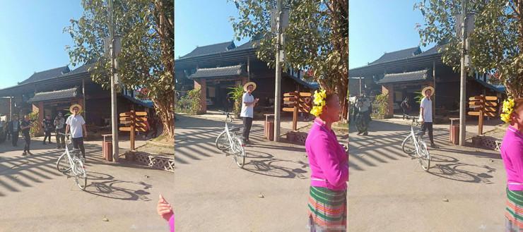 贾乃亮乡间骑自行车,这身打扮让人大呼认不出…