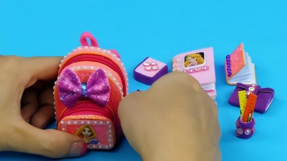 微型模型diy手工制作 长发公主主题的学生用品微型模型玩具