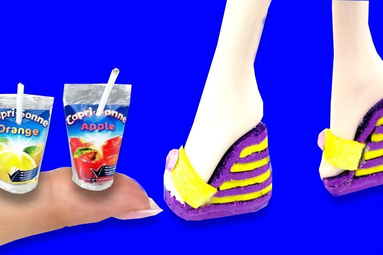 给芭比娃娃做迷你鞋子,果汁,笔记本等,做法简单,手工diy
