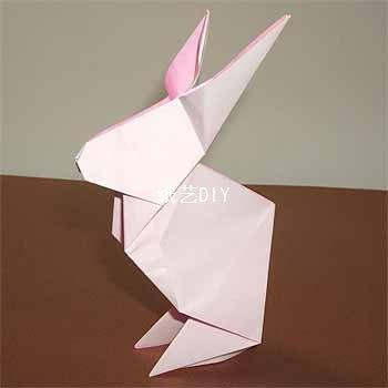可爱小动物折纸,站立的小白兔折纸教程