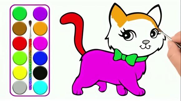亲子绘画学习,教小朋友画可爱小猫咪,简笔画幼儿手绘