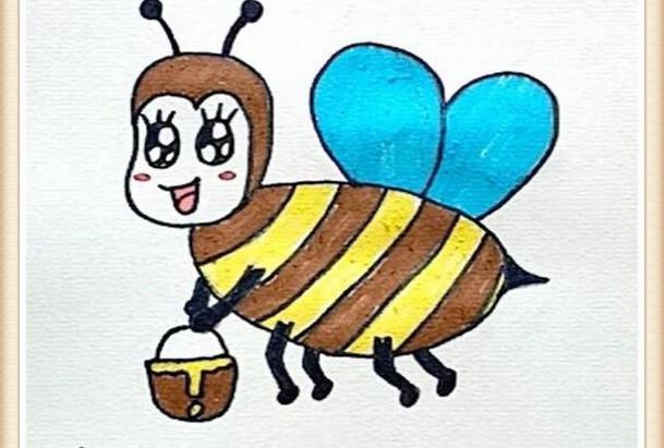 英语启蒙简笔画单词卡bee蜜蜂honey蜂蜜图片