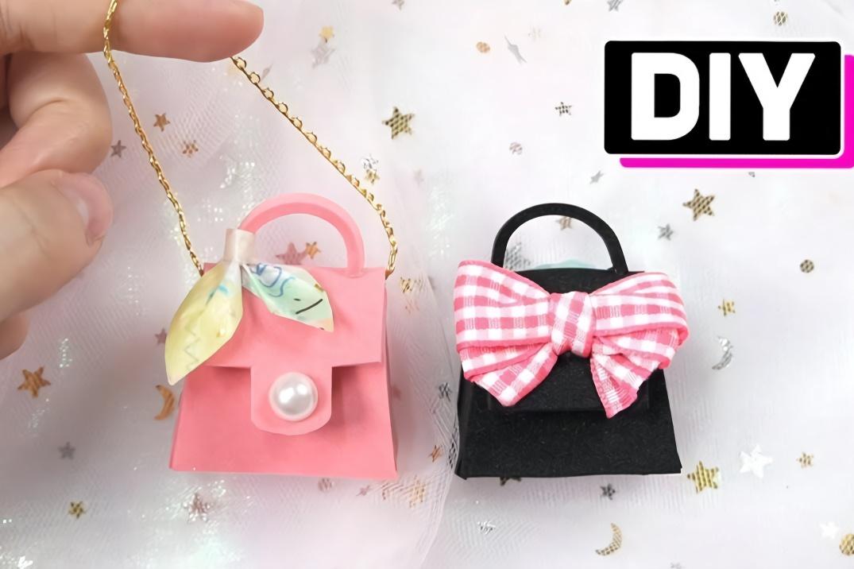 給芭比娃娃做兩款漂亮的迷你包包,做法簡單,創意手工diy教程
