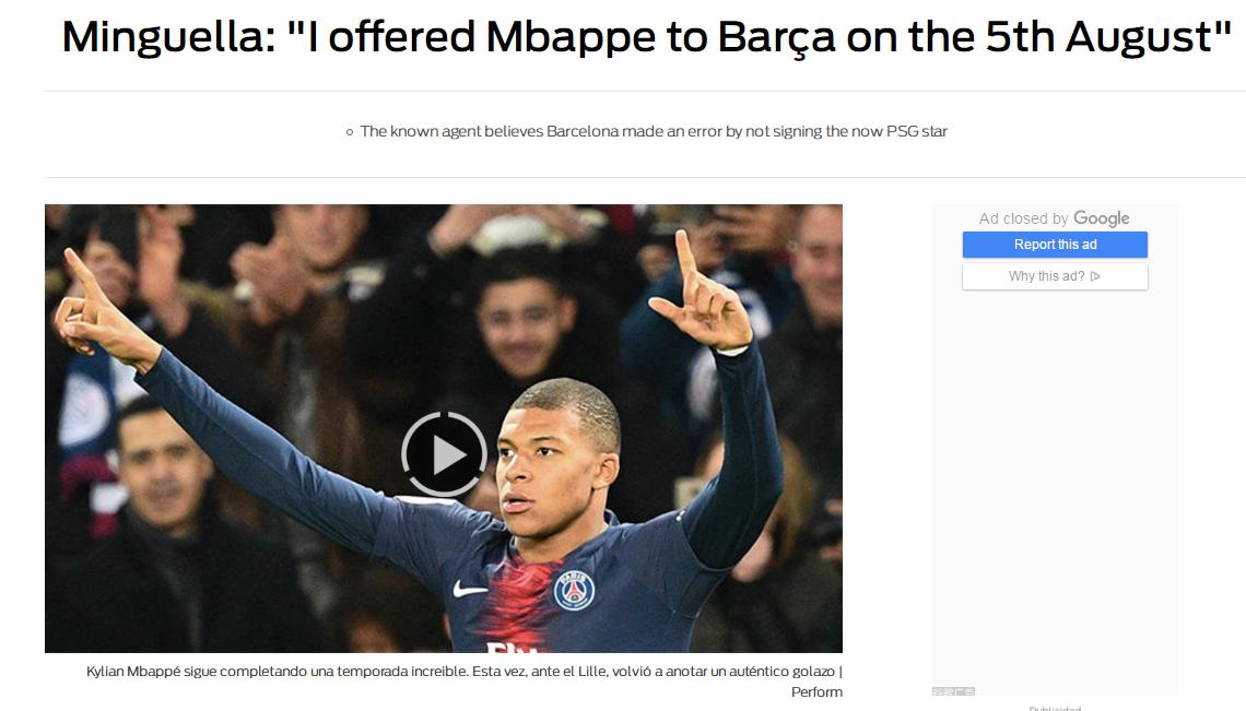 经纪人:去年曾向巴萨推荐姆巴佩 未来10年俱乐部都会后悔