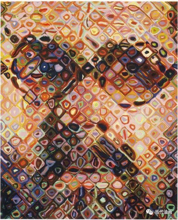 他仍以幾何小方格為構成圖像之基礎,以抽象的方或圓形彩色圖案填繪于