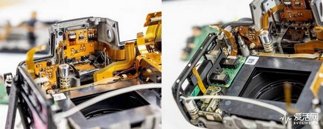 相机的3.5mm音频输入输出接口,通过独立电路板固定在机身外壳上.