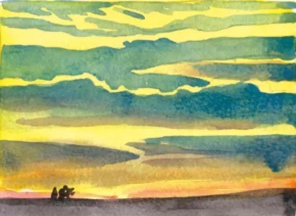 水彩风景入门教程|如何用水彩画今天的天空?