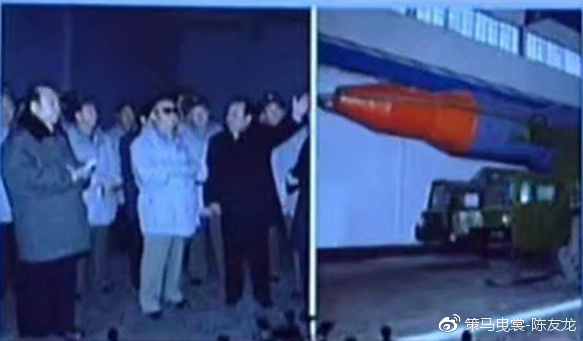 """早期的""""火星""""-14导弹模型,可以看到脱掉小黄帽后的弹头构造"""