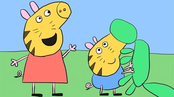 小猪佩奇与弟弟乔治在脸上画老虎儿童卡通简笔画
