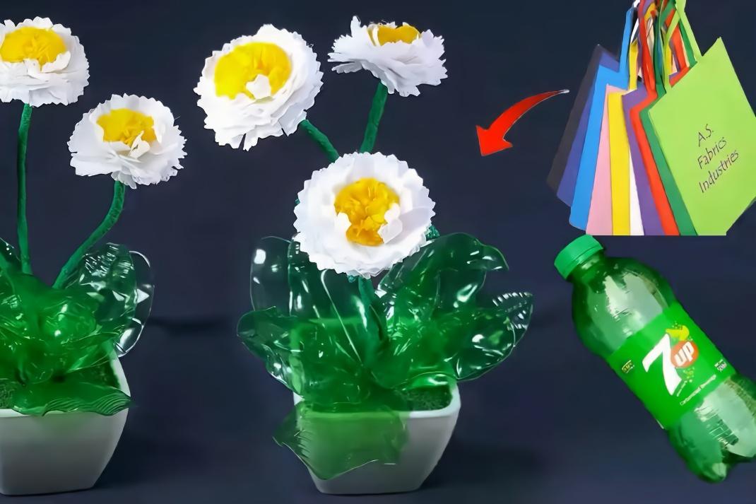 利用塑料瓶手工制作漂亮小花篮,简单实用