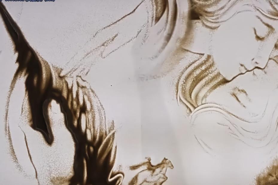沙画《动物世界》:动物有明显的尖牙,人类有隐藏的利爪