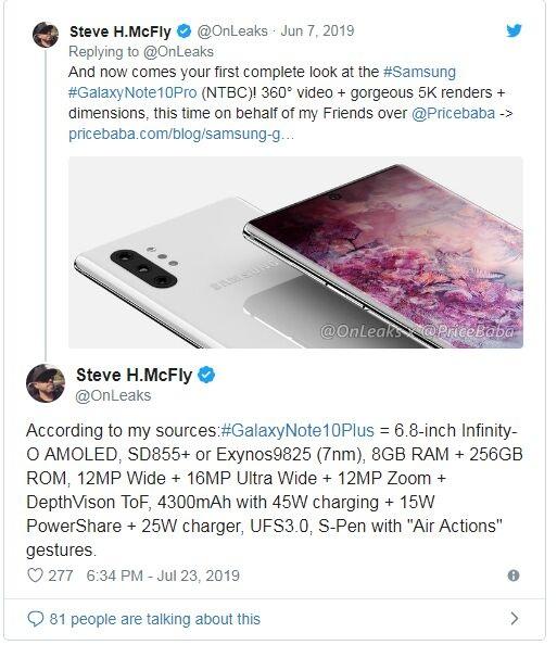三星Galaxy Note 10-10 Pro配置曝光:搭载高通最新骁龙855 Plus处理器