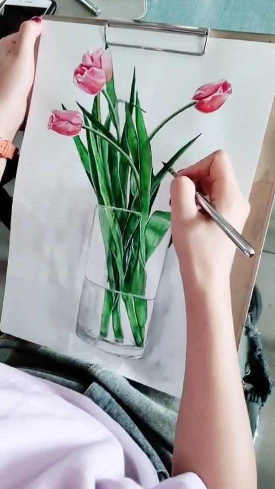 北京艺方学员尹蓉水彩花卉绘画《郁金香》北京成人美术培训班#水彩花卉#零基础学水彩#