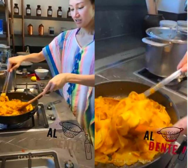 49岁李嘉欣素颜亲自下厨,皮肤白里透红,豪华厨房抢镜