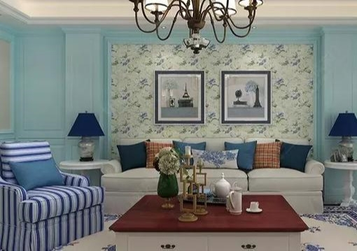 细腻的欧式沙发背景墙板,别出心裁的撞色搭配,不仅可以让客厅显得