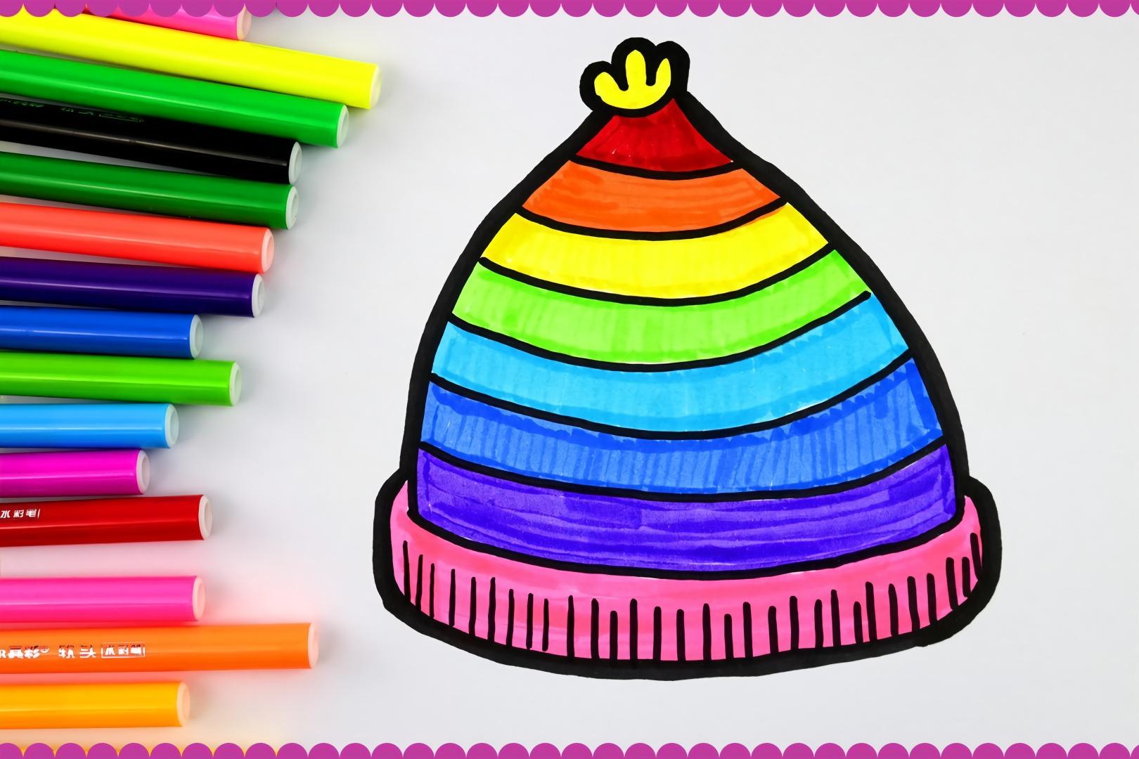 漂亮的彩虹帽幼儿简笔画,宝宝最爱的涂色画!