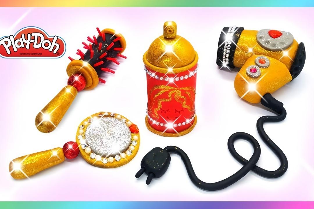 用彩泥给芭比娃娃做卷发棒吹风机等美发用品,做法简单,手工diy