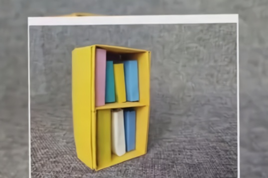 迷你小书柜折法教程  用来放小纸书很可爱哦,简单易学图片