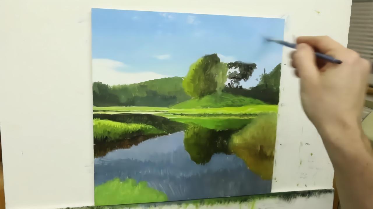 油画风景 写实油画作画过程大公开!cool!