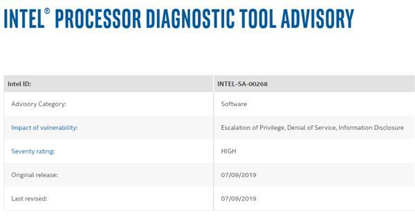 Intel处理器诊断工具爆出漏洞:高危级别 赶快升级