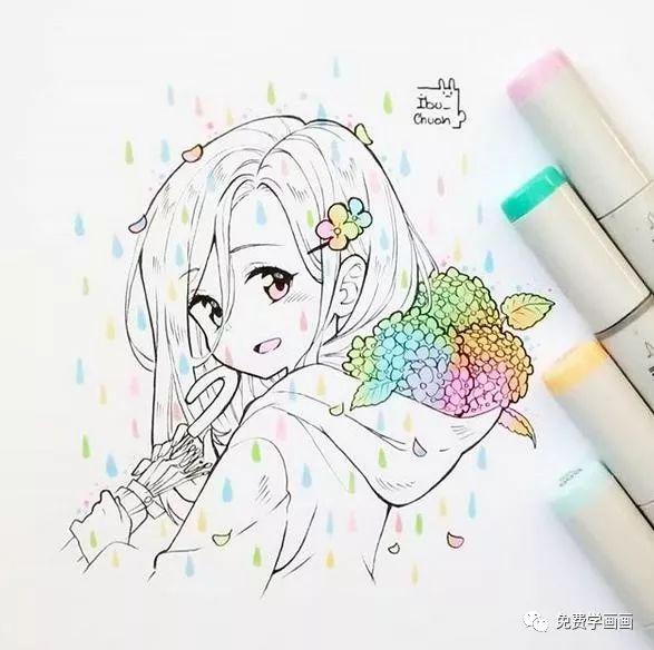可爱的血小板动漫手绘,马克笔上色,可爱到不行!