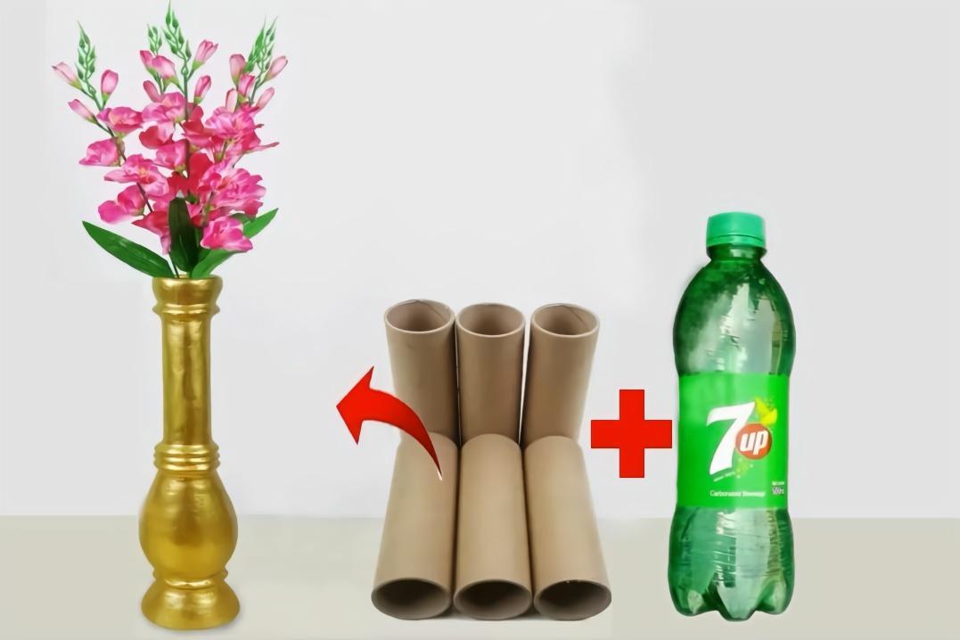 当废旧塑料瓶遇到卷纸筒,变成一个漂亮的手工花瓶!