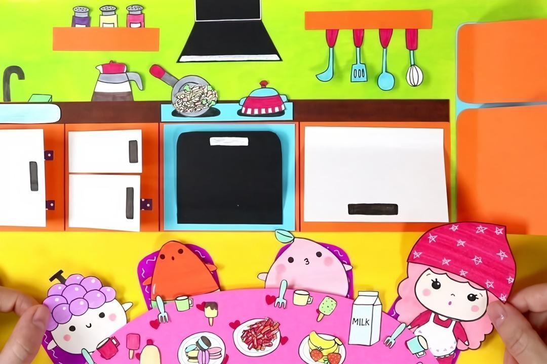 给纸娃娃做的迷你厨房,各种厨具,食品等做法简单,手工diy