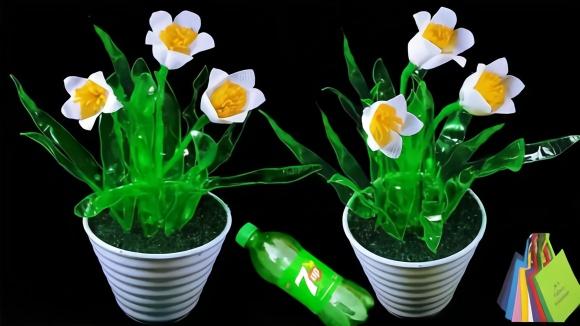创意生活,教你用塑料瓶和购物袋diy漂亮的鲜花盆栽!图片