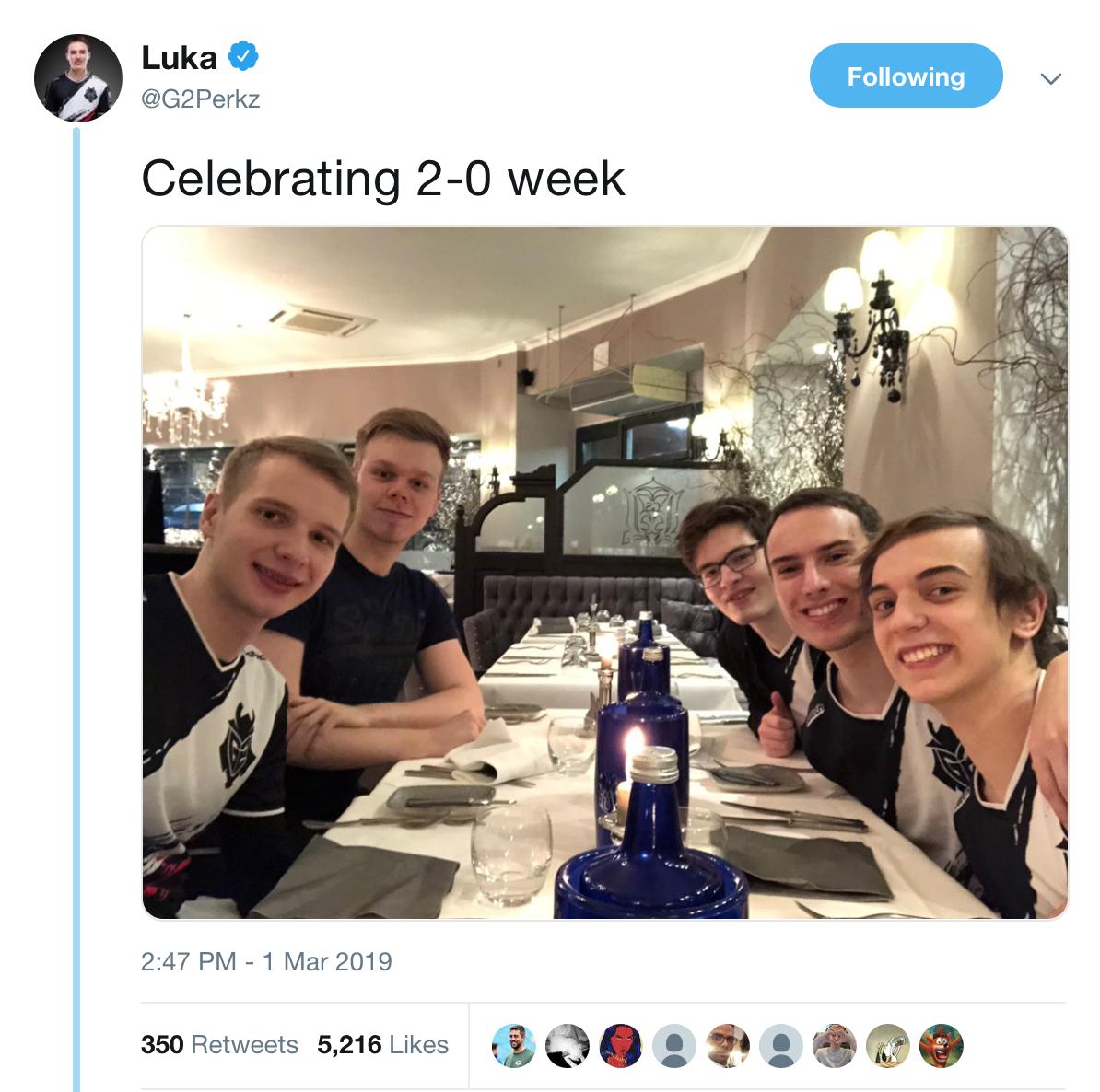 G2惨遭翻盘 赛前众人聚餐庆祝本周2