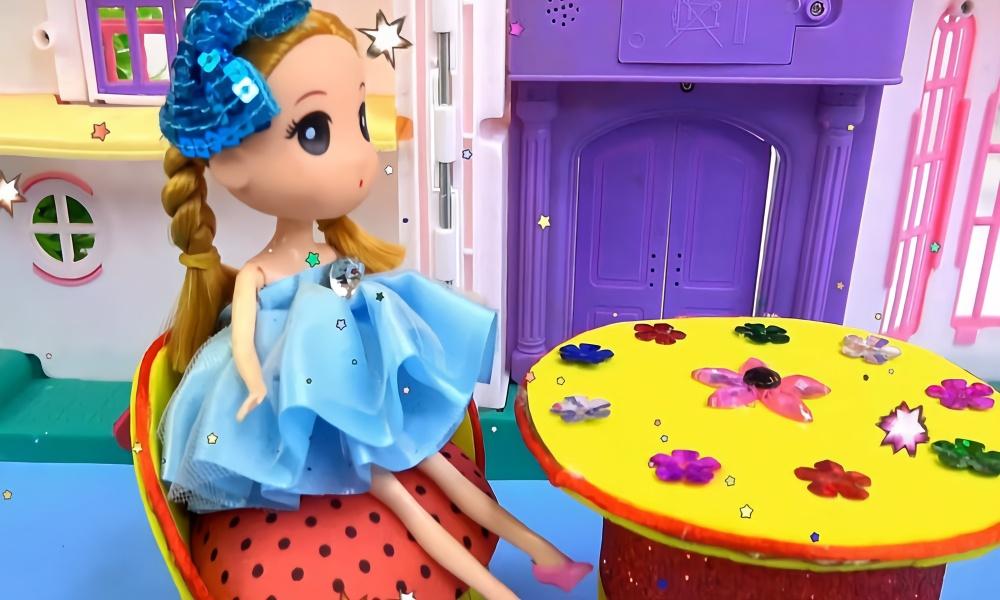 芭比娃娃手工制作沙发和桌子玩具教程,婴幼儿宝宝过家家游戏视频