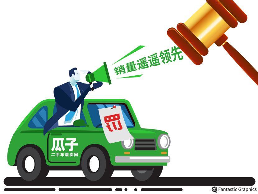 """根据行政处罚书,北京市工商行政管理局海淀分局认为瓜子二手车广告宣传中使用的""""创办一年、成交量就已遥遥领先""""等广告语缺乏事实依据,与实际情况不符。"""