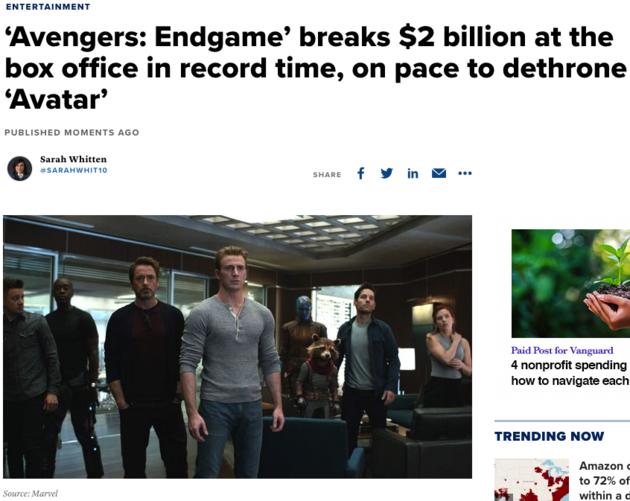 """两周破20亿美元票房,""""复联4""""再创纪录"""